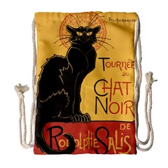 Black cat Drawstring Bag (Large)