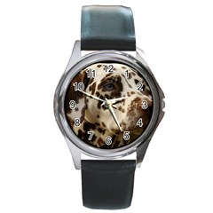 Dalmatian Liver Round Metal Watch