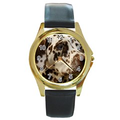 Dalmatian Liver Round Gold Metal Watch