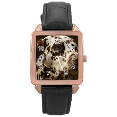 Dalmatian Liver Rose Gold Leather Watch