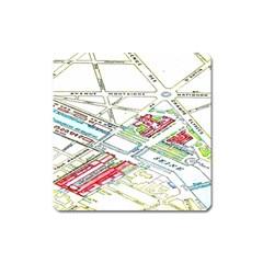 Paris Map Square Magnet