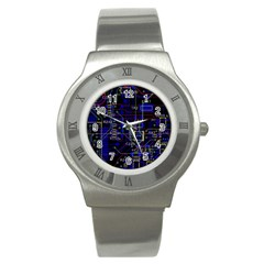 Technology Circuit Board Layout Stainless Steel Watch