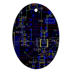 Technology Circuit Board Layout Oval Ornament (Two Sides)