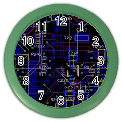 Technology Circuit Board Layout Color Wall Clocks