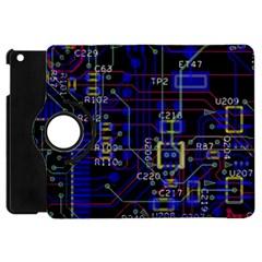 Technology Circuit Board Layout Apple iPad Mini Flip 360 Case