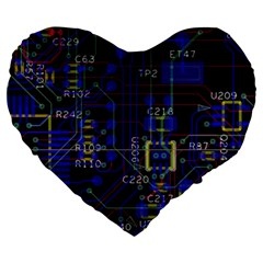 Technology Circuit Board Layout Large 19  Premium Heart Shape Cushions