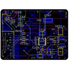 Technology Circuit Board Layout Double Sided Fleece Blanket (Large)