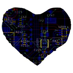 Technology Circuit Board Layout Large 19  Premium Flano Heart Shape Cushions