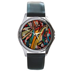 Vivid Colours Round Metal Watch
