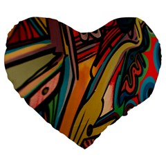 Vivid Colours Large 19  Premium Flano Heart Shape Cushions