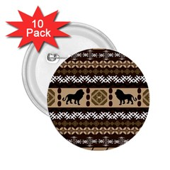 Lion African Vector Pattern 2.25  Buttons (10 pack)