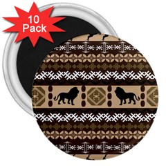 Lion African Vector Pattern 3  Magnets (10 pack)