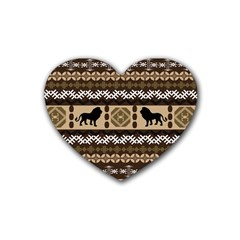 Lion African Vector Pattern Heart Coaster (4 pack)