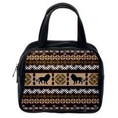 Lion African Vector Pattern Classic Handbags (One Side)