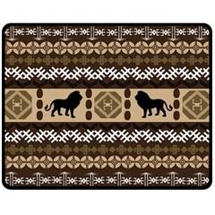 Lion African Vector Pattern Fleece Blanket (Medium)