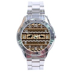 Lion African Vector Pattern Stainless Steel Analogue Watch