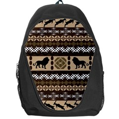Lion African Vector Pattern Backpack Bag