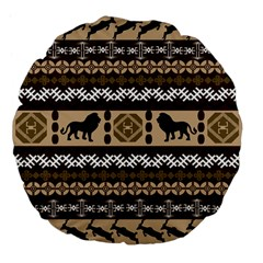 Lion African Vector Pattern Large 18  Premium Flano Round Cushions