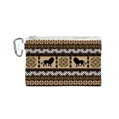 Lion African Vector Pattern Canvas Cosmetic Bag (S)