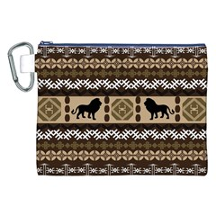 Lion African Vector Pattern Canvas Cosmetic Bag (XXL)