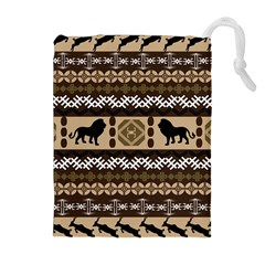 Lion African Vector Pattern Drawstring Pouches (Extra Large)