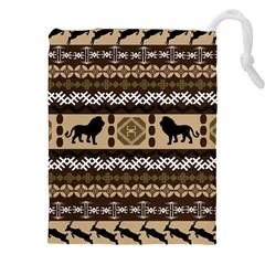 Lion African Vector Pattern Drawstring Pouches (XXL)