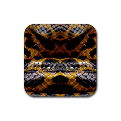 Textures Snake Skin Patterns Rubber Coaster (Square)