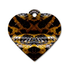 Textures Snake Skin Patterns Dog Tag Heart (One Side)