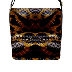 Textures Snake Skin Patterns Flap Messenger Bag (L)