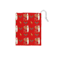 Digital Paper Surfer Couple Drawstring Pouches (Small)