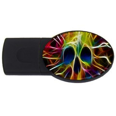 Skulls Multicolor Fractalius Colors Colorful USB Flash Drive Oval (1 GB)