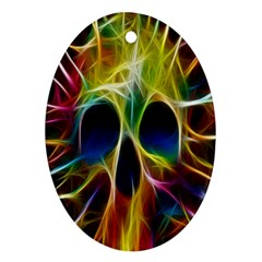 Skulls Multicolor Fractalius Colors Colorful Oval Ornament (Two Sides)