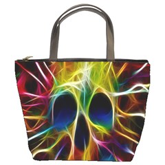 Skulls Multicolor Fractalius Colors Colorful Bucket Bags