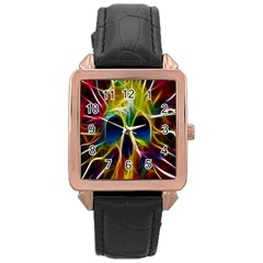 Skulls Multicolor Fractalius Colors Colorful Rose Gold Leather Watch