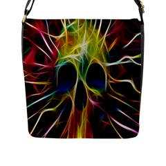 Skulls Multicolor Fractalius Colors Colorful Flap Messenger Bag (L)