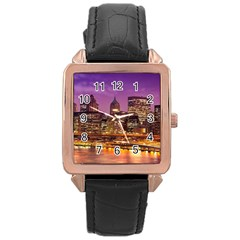 City Night Rose Gold Leather Watch