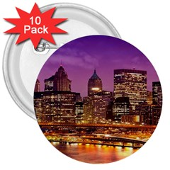 City Night 3  Buttons (10 pack)