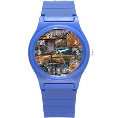 Brick Wall Pattern Round Plastic Sport Watch (S)