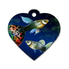 Marine Fishes Dog Tag Heart (Two Sides)