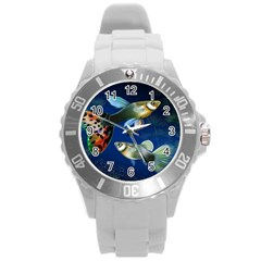 Marine Fishes Round Plastic Sport Watch (L)