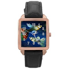 Marine Fishes Rose Gold Leather Watch