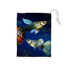 Marine Fishes Drawstring Pouches (Medium)