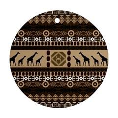 Giraffe African Vector Pattern Ornament (Round)