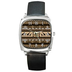 Giraffe African Vector Pattern Square Metal Watch