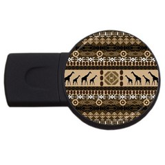 Giraffe African Vector Pattern USB Flash Drive Round (4 GB)