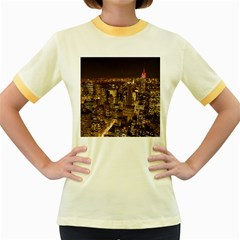 New York City At Night Future City Night Women s Fitted Ringer T-Shirts