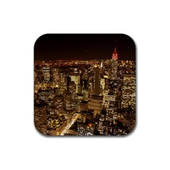 New York City At Night Future City Night Rubber Square Coaster (4 pack)