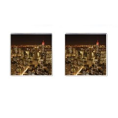 New York City At Night Future City Night Cufflinks (Square)