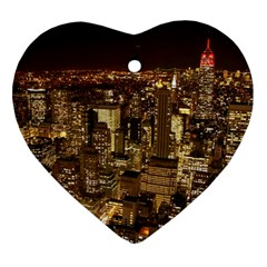 New York City At Night Future City Night Heart Ornament (Two Sides)