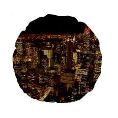New York City At Night Future City Night Standard 15  Premium Round Cushions